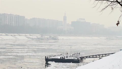 Ice on River 10 city Stock Video Footage