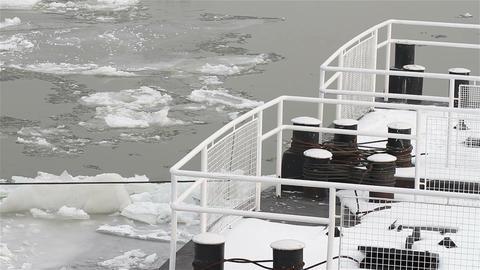 Ice on River 11 bridge Stock Video Footage