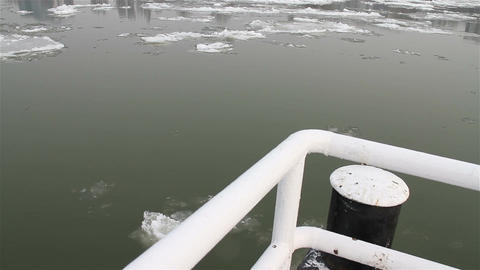 Ice on River 17 dock Stock Video Footage