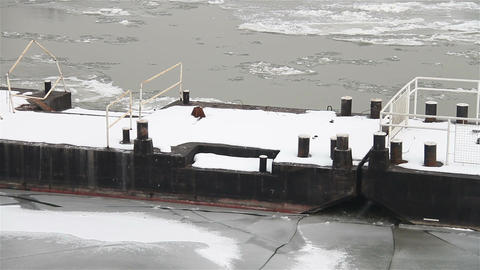 Ice on River 23 dock Stock Video Footage