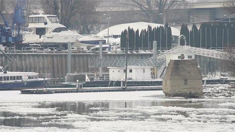 Ice on River 27 shipyard dock Stock Video Footage