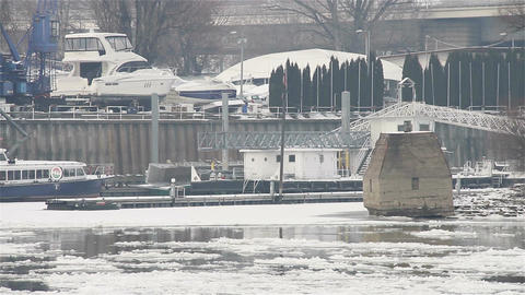 Ice on River 27 shipyard dock Footage