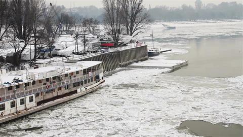Ice on River 33 shipyard dock Stock Video Footage