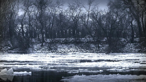 Ice on River 36 stylized Stock Video Footage