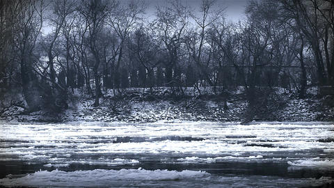 Ice on River 36 stylized Footage