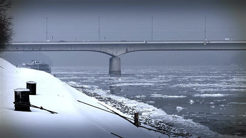 Ice on River 39 bridge stylized Stock Video Footage