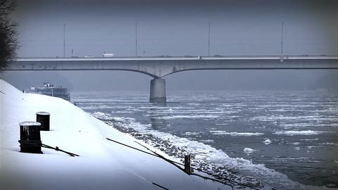 Ice on River 39 bridge stylized Footage