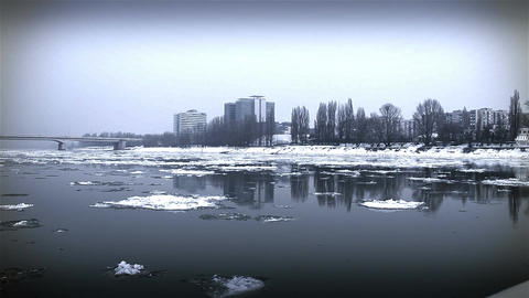 Ice on River 41 city stylized Footage