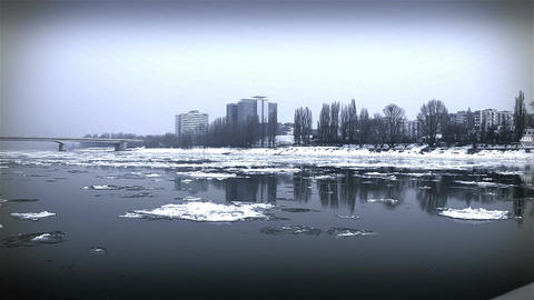 Ice on River 41 city stylized Stock Video Footage