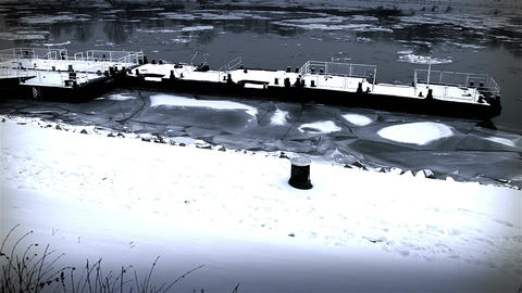 Ice on River 43 dock stylized Stock Video Footage