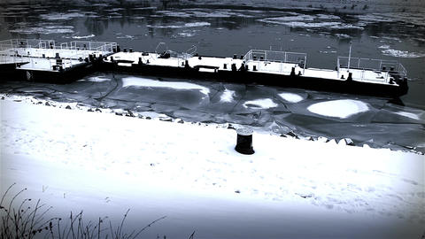 Ice on River 43 dock stylized Footage