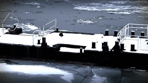 Ice on River 44 dock stylized Stock Video Footage