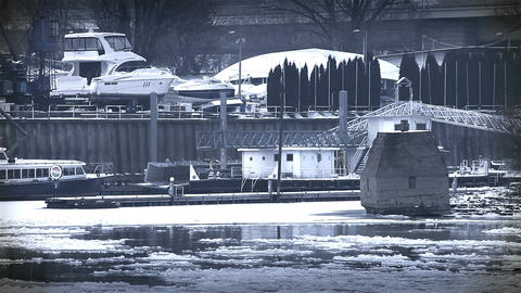 Ice on River 45 shipyard dock stylized Stock Video Footage
