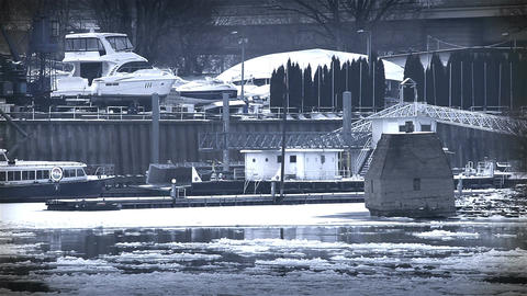 Ice on River 45 shipyard dock stylized Footage