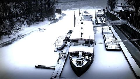 Ice on River 49 shipyard dock stylized Stock Video Footage