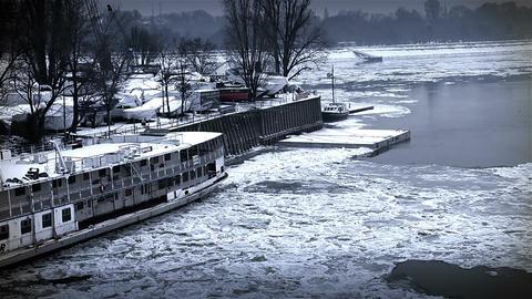 Ice on River 51 shipyard dock stylized Stock Video Footage