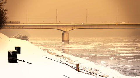 Ice on River 55 bridge stylized Stock Video Footage