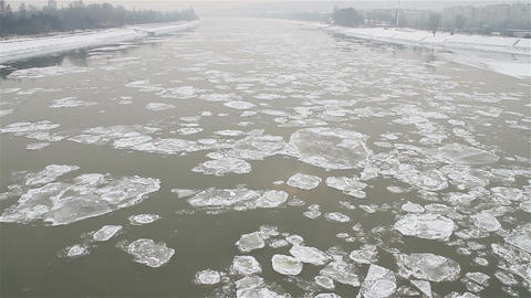 Ice on River Dramatic Scene 30 city Stock Video Footage