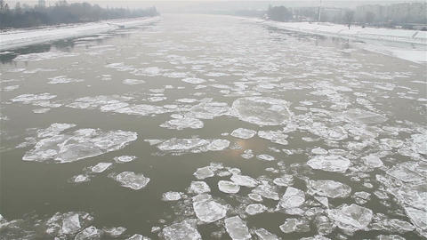 Ice on River Dramatic Scene 30 city Footage