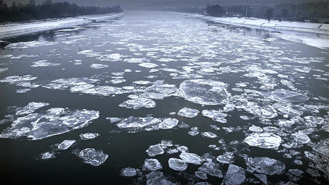 Ice on River Dramatic Scene 48 city stylized Stock Video Footage