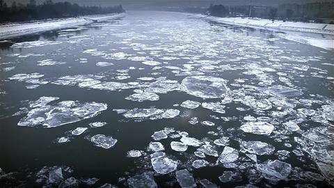 Ice on River Dramatic Scene 48 city stylized Footage