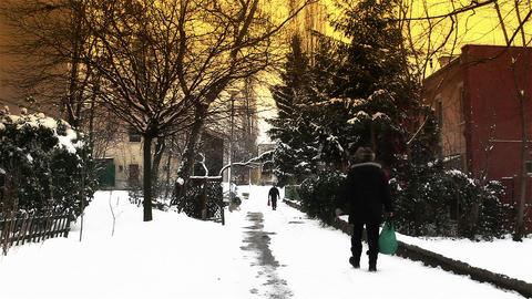 Snowy Suburb 17 walking stylized Footage