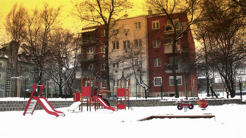 Snowy Suburb 19 playground stylized Stock Video Footage