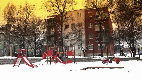 Snowy Suburb 19 playground stylized Footage