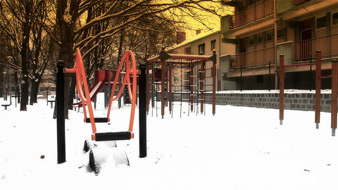 Snowy Suburb 21 playground stylized Stock Video Footage