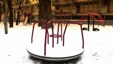 Snowy Suburb 23 playground stylized Stock Video Footage