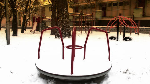 Snowy Suburb 23 playground stylized Stock Video Footage