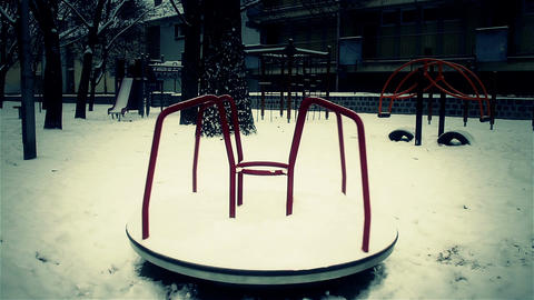 Snowy Suburb 25 playground stylized scary Stock Video Footage