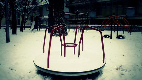 Snowy Suburb 25 playground stylized scary Footage