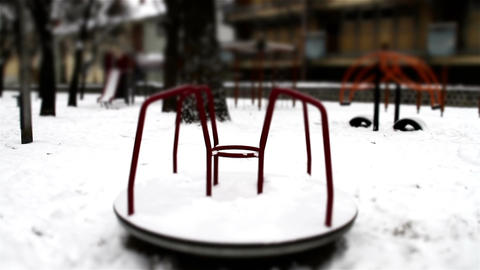 Snowy Suburb 27 playground stylized scary Stock Video Footage