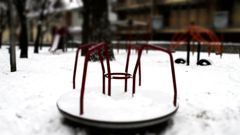 Snowy Suburb 27 playground stylized scary Footage