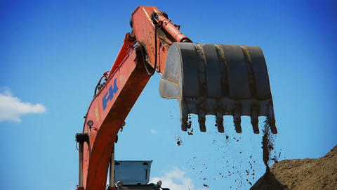 Excavator working on a construction site Stock Video Footage