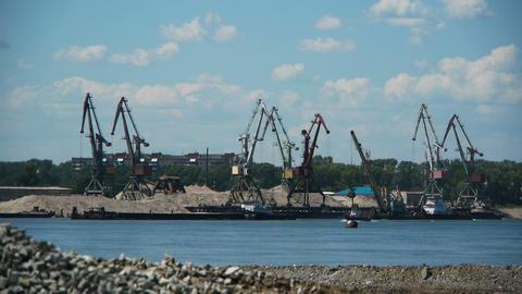 port crane working Stock Video Footage