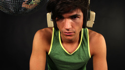 male model listening to music Footage
