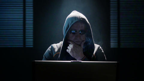 smoking internet hacker mimic dolly in 11625 Footage