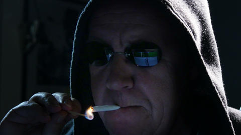 internet hacker start smoking close 4k UHD 11626 Footage