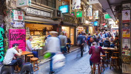 4k timelapse video of people visiting Centre Place in Melbourne, Australia Footage