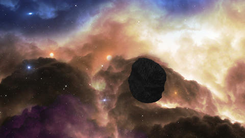 fly to glowing gas nebula dodge asteroid 11630 Animation