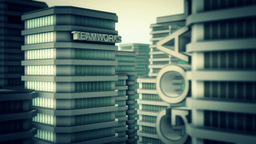 Modern business buildings. Clean concept Animation