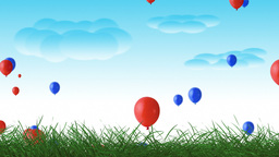 Beautiful summer balloon nature scrolling landscape Animation