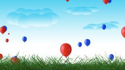 Beautiful summer balloon nature scrolling landscape Animation
