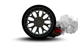Car wheel with steel rims reflections on white background Animation