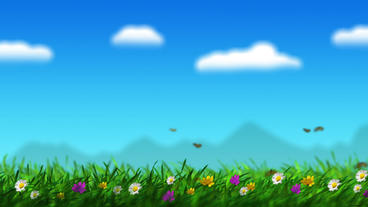 Beautiful summer nature scrolling landscape Animation