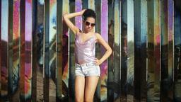 sexy girl disco coloured chrome metal Footage