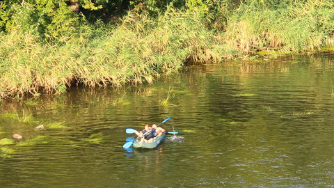 Two In Kayak stock footage