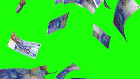 Falling Swiss Francs (Loop on Greenscreen) Animation